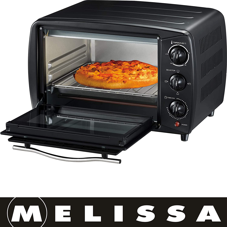 Melissa 16340037-16 Liter, 1200 Watt Minibackofen,Mini Pizza-Ofen, Glastü r, 60 Minuten Timer,Mini Backofen,Pizzaofen,herausnehmbares Krü melblech, 230 Grad,Ober-Unterhitze