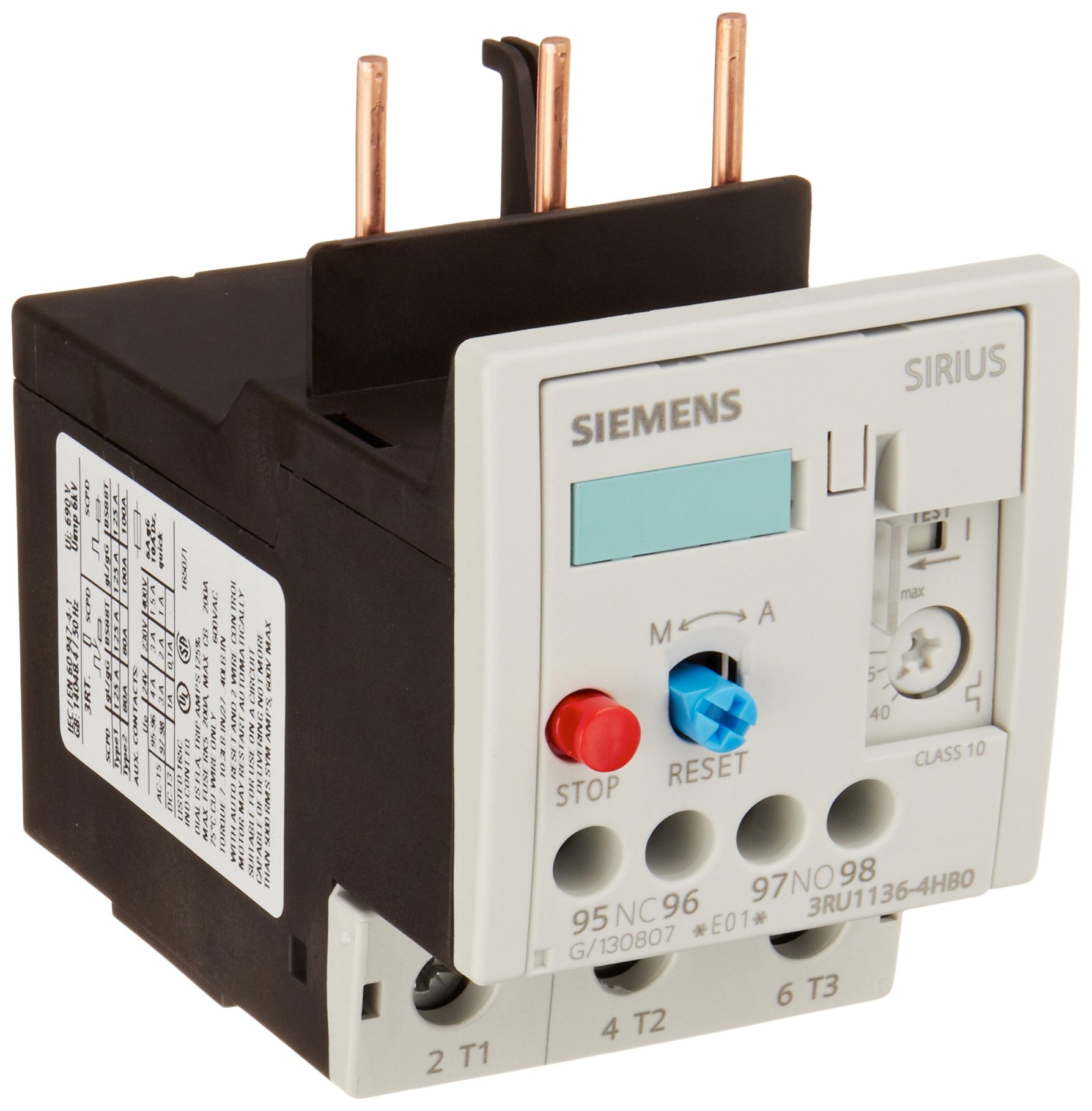 Siemens 3RU11 36-4HB0 Thermal Overload Relay, For Mounting Onto Contactor, Size S2, 40-50A Setting Range