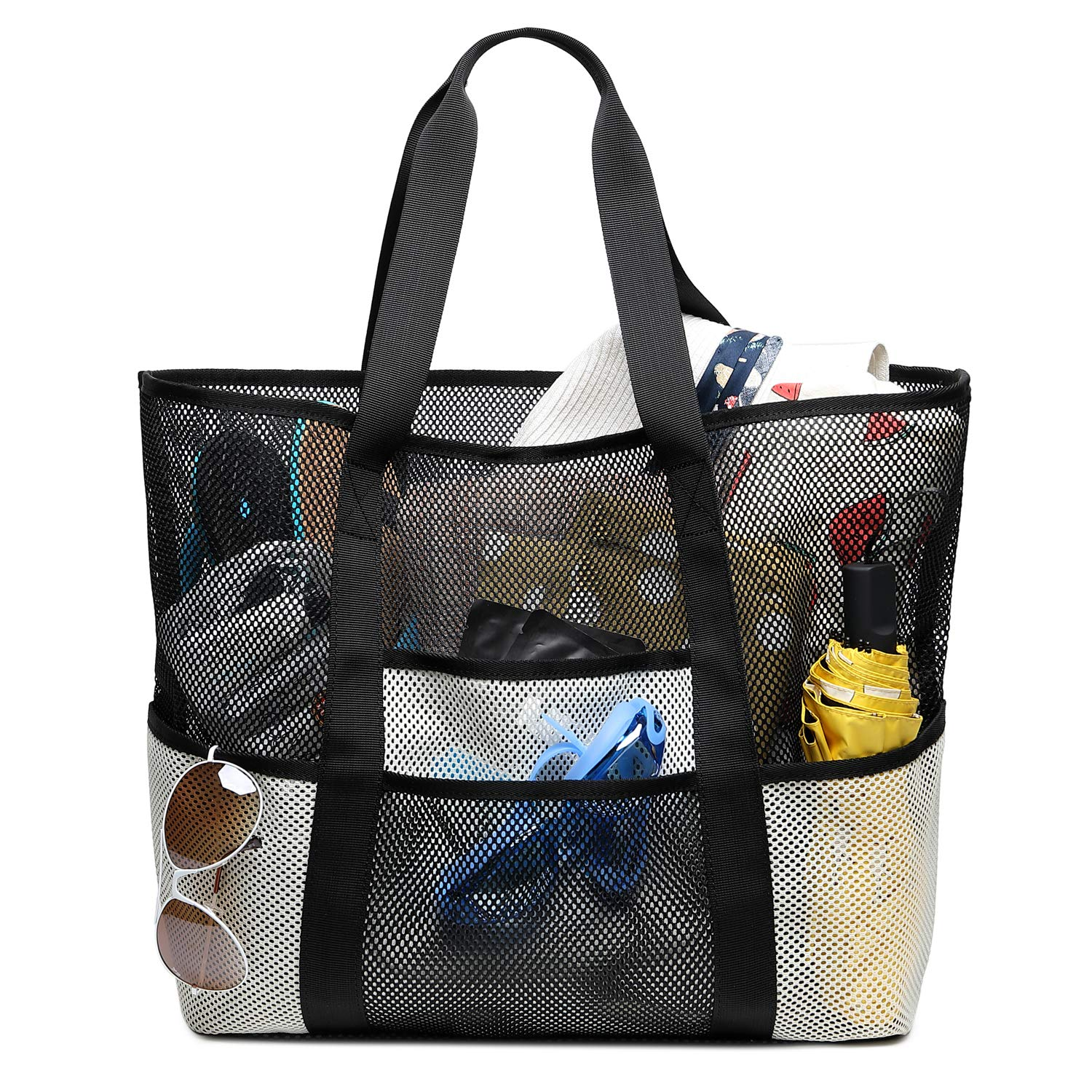 Large Beach Bag Bertasche Mesh Beach Tote Toy Tote Bag with 8 Pockets for Summer,Swimming,Shopping(Black/White)