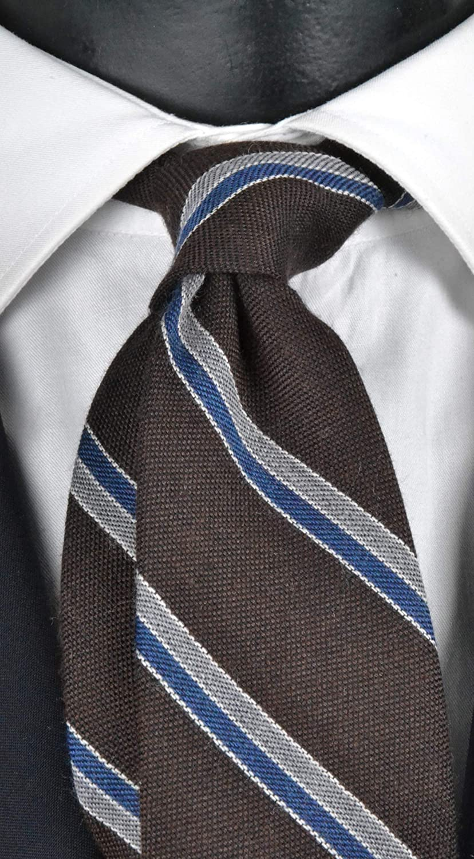 Corbata de hombre de lana marrón regimental con rayas grises ...