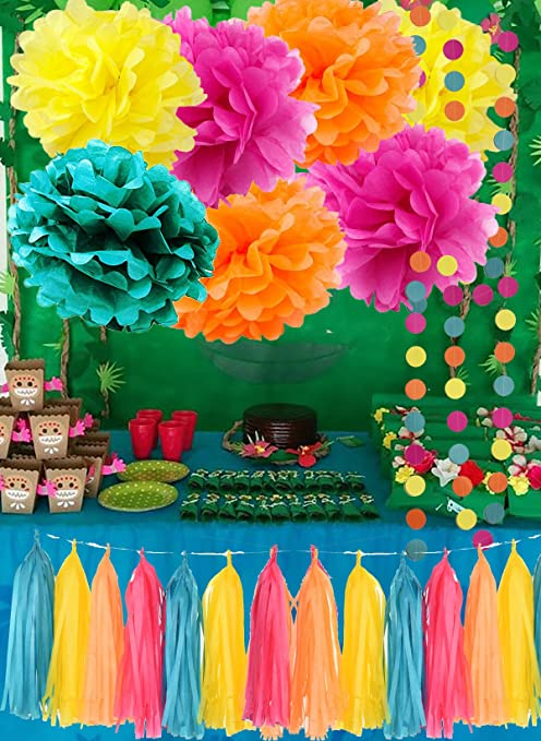 Moana Color Party Supplies Theme Birthday Decorations Teal Orange Yellow Fuchsia Tissue Paper Pom