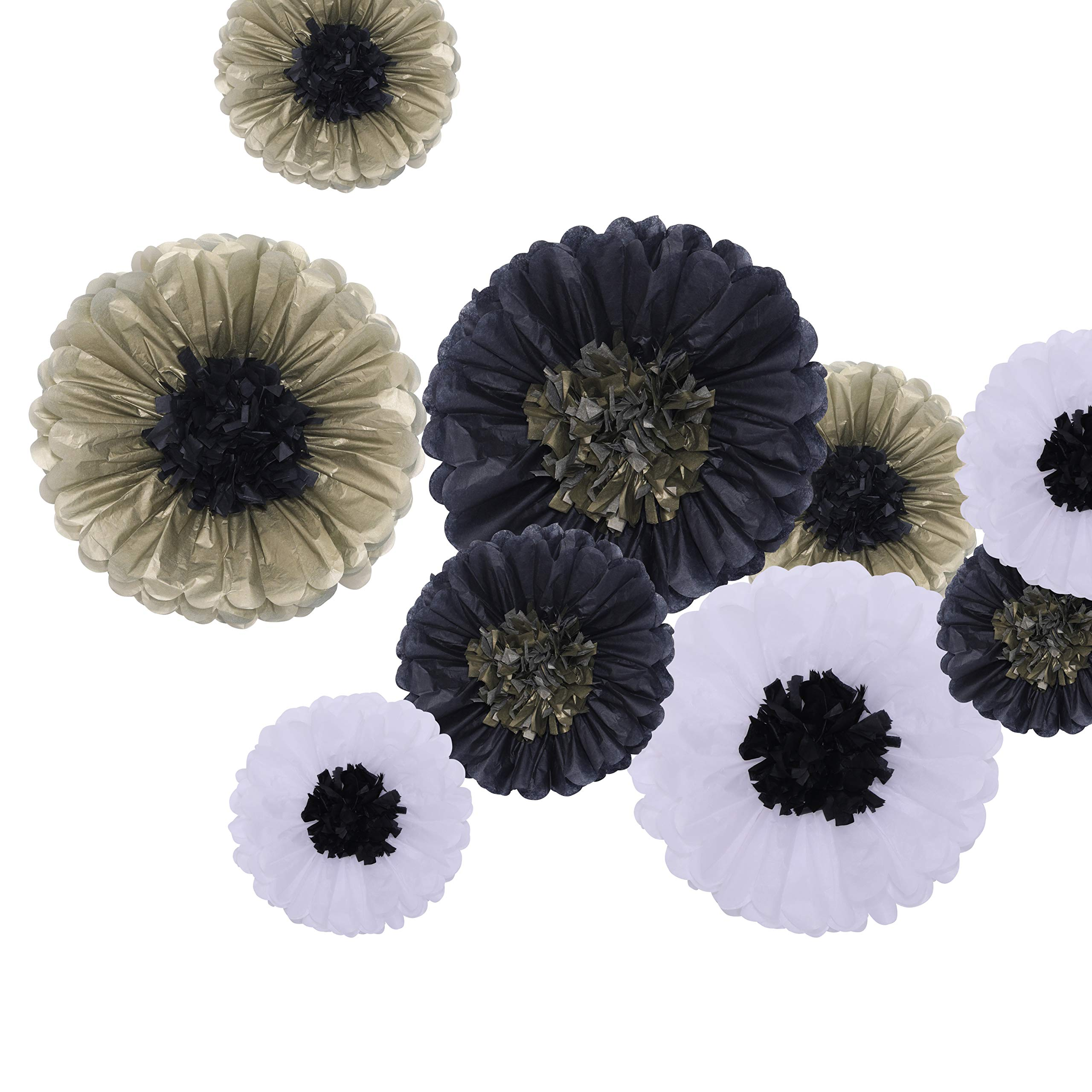 Fonder Mols Tissue Paper Flowers DIY Kit - Make Paper Flowers Backdrop Centerpiece for Wedding Nursery Room Wall Backdrop Decorations (Pack of 9, Black Gold White)