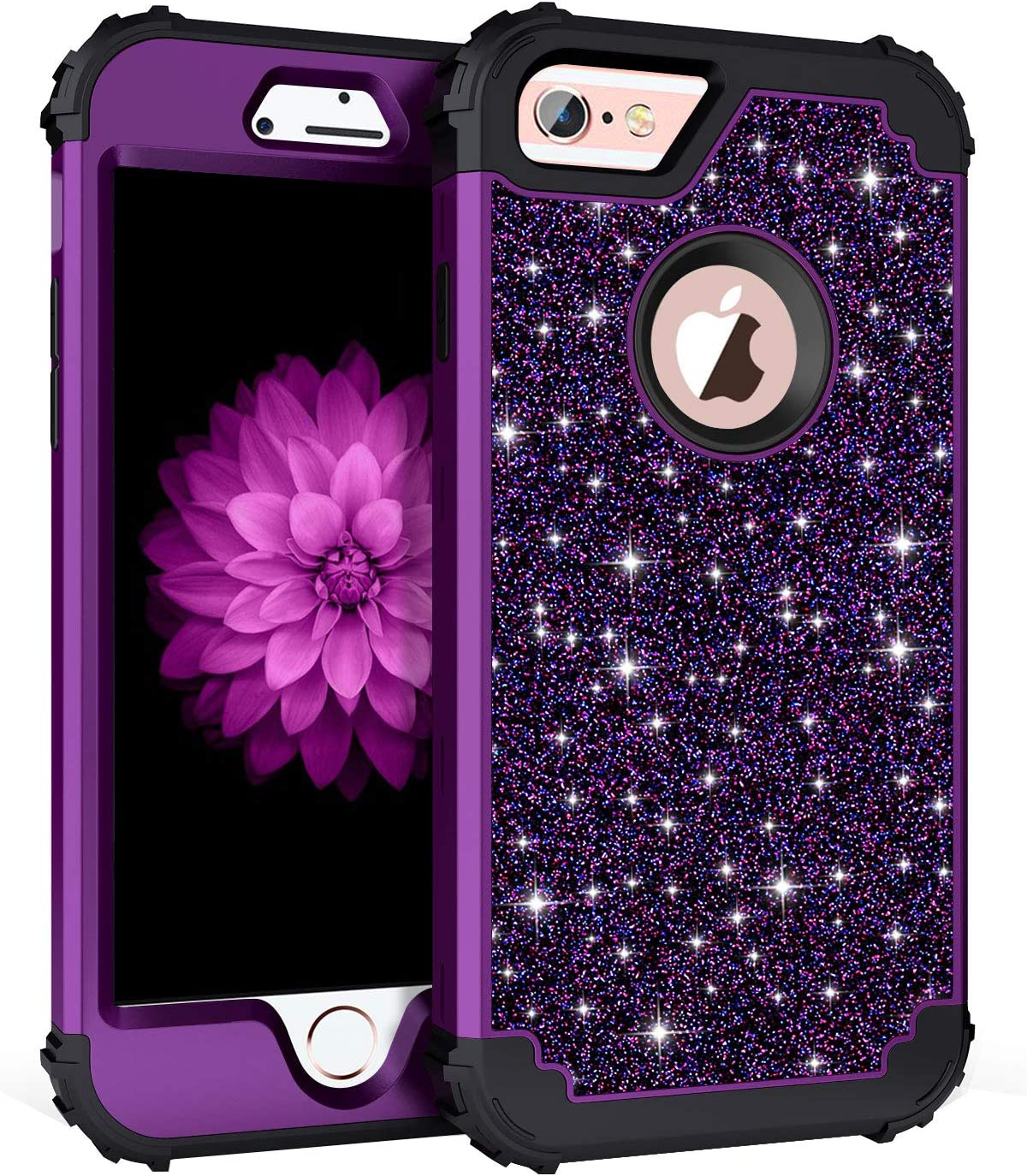 Casetego Compatible with iPhone 6S Plus Case,iPhone 6 Plus Case,Glitter Sparkle Bling Three Layer Heavy Duty Hybrid Sturdy Shockproof Protective Cover Case for Apple iPhone 6 Plus/6S Plus,Shiny Purple