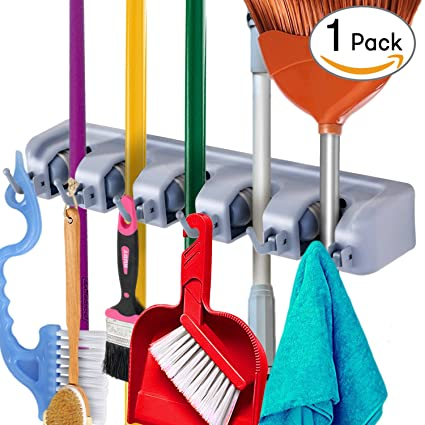 IFAVO Mop And Broom Holder Wall Mount, Garden Tools Organizer Hanging Rack,  Utility Storage