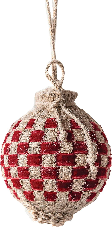 Creative Co-op Woven Jute Ball Ornament, Red
