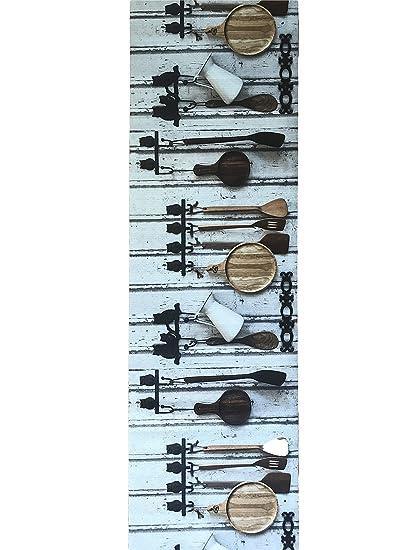 LaVelaHOME Tappeto per Cucina a Metraggio h 52 cm Stoviglie Rustico ...