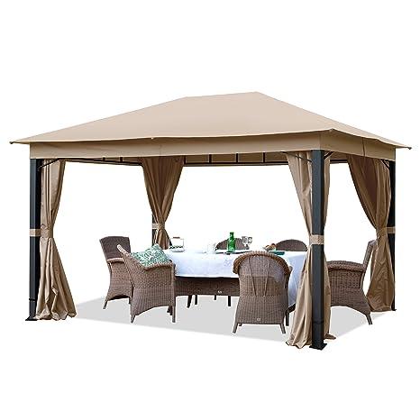TOOLPORT Cenador de jardín 3x4m ALU Premium 280g/m² Lona de Techo Cenador Impermeable - 4 Partes Laterales cenador de jardín Topo 9x9cm Perfil: Amazon.es: Jardín