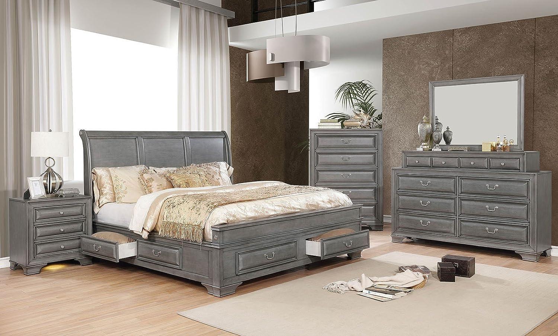 Amazon com esofastore brandt bedroom furniture gray finish chestnut hardware 4pc set queen size bed dresser mirror nightstand storage bed curving hb