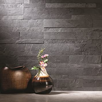 Aspect Peel And Stick Stone Overlay Kitchen Backsplash   Charcoal Slate  (5.9u0026quot; X 23.6u0026quot