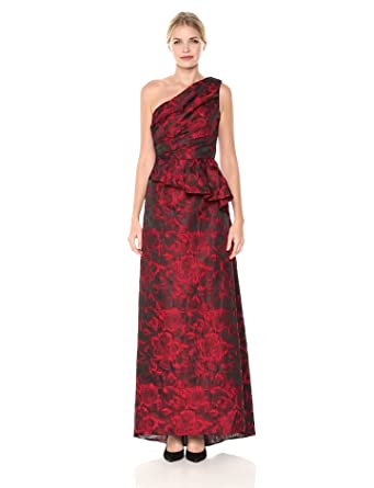 8e5b2b94a857 Carmen Marc Valvo Infusion Women's One Shoulder Brocade Gown W/Side Peplum,  red/