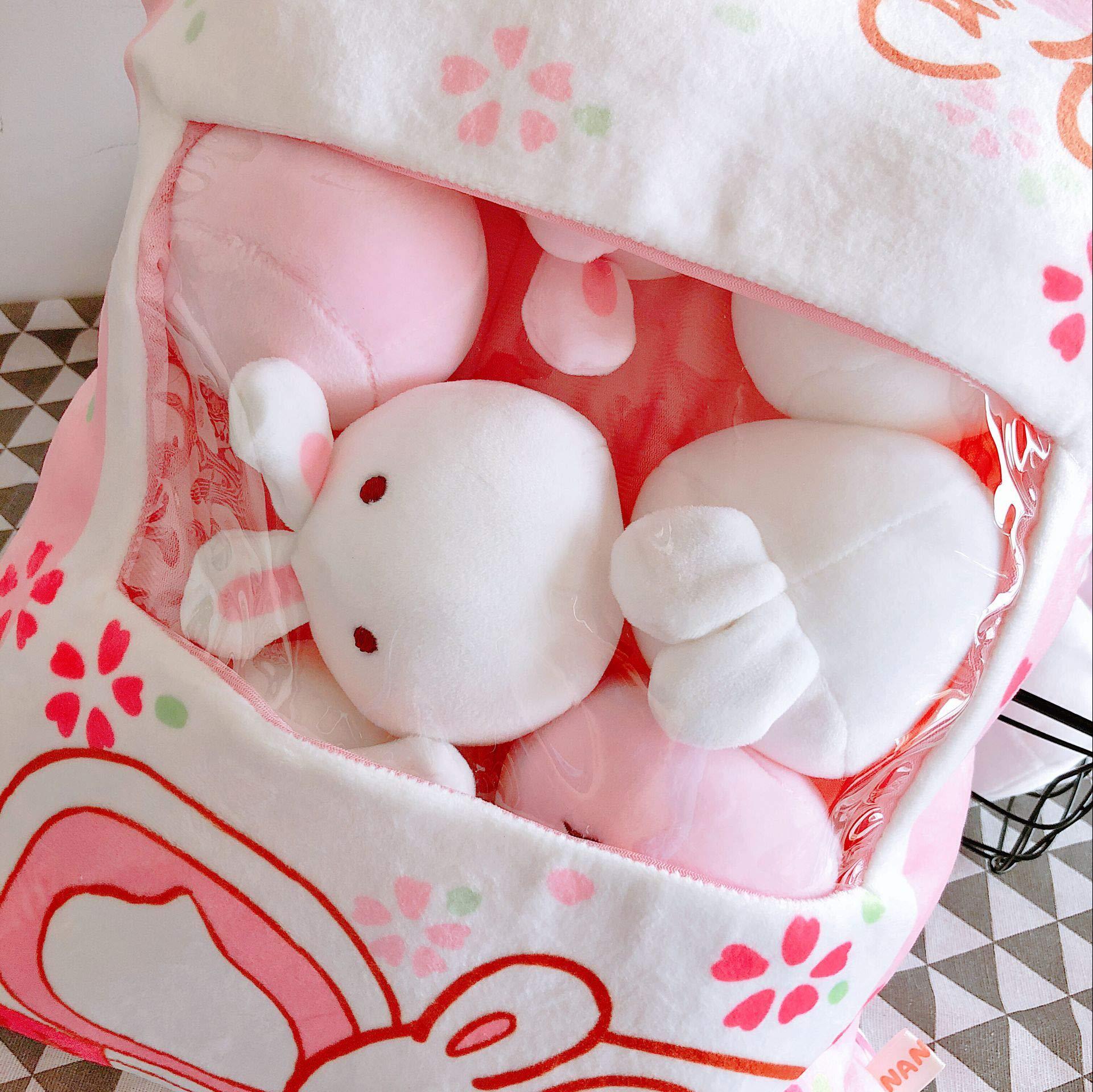Nenalayo Cute Throw Pillow Stuffed Animal Toys Removable Fluffy Bunnies Creative Gifts for Teens Girls Kids by Nenalayo (Image #4)