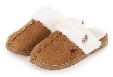 e7da30672bb EuropeanSoftest Womens 80-D Memory Foam Slippers Slip On Faux Fur Warm  Winter Mules Fluffy