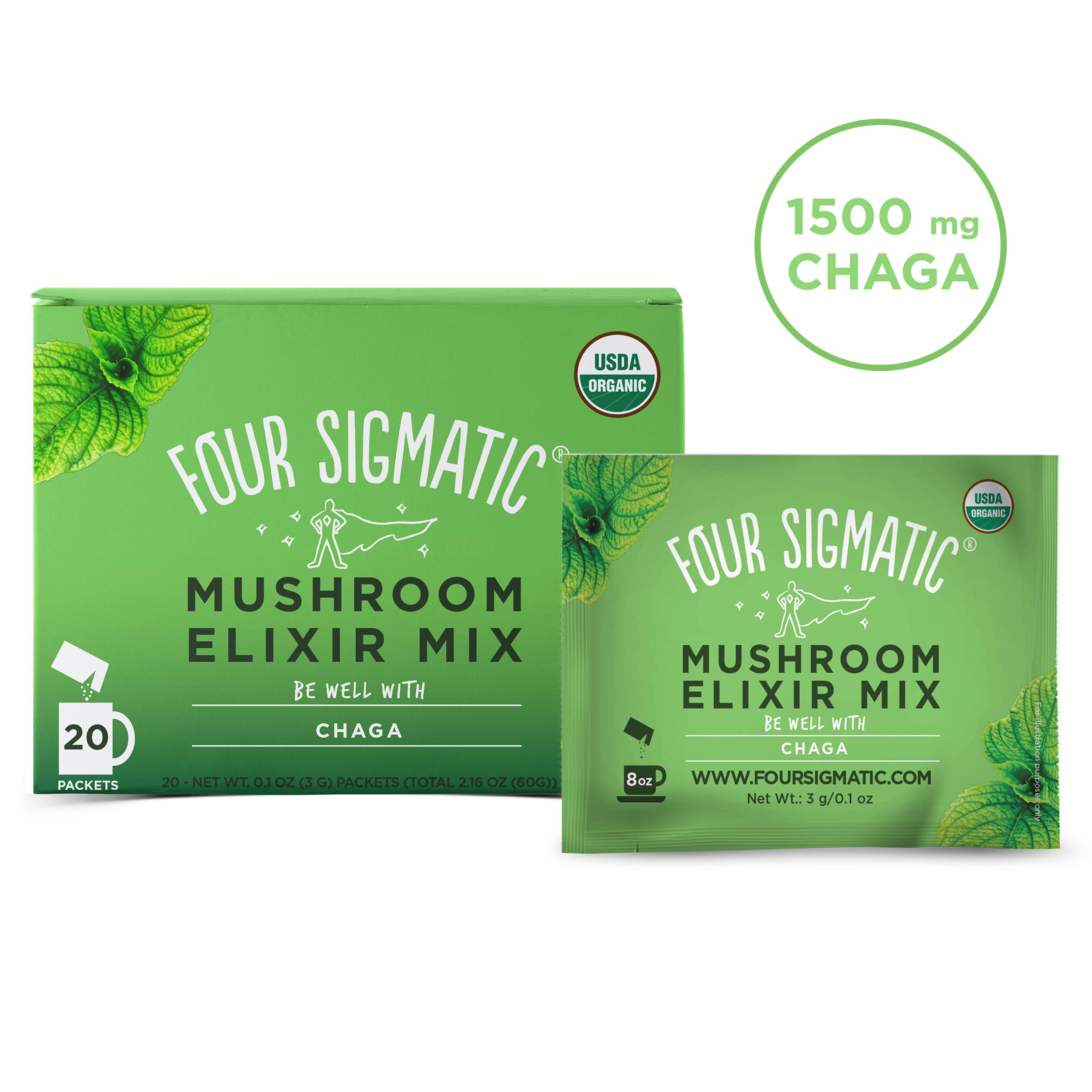 Four Sigmatic Chaga Mushroom Elixir - USDA Organic Chaga Mushroom Powder - Wellness, Immunity - Vegan, Paleo - 20 Count by Four Sigma Foods