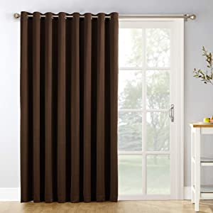 """Sun Zero Easton Extra-Wide Blackout Sliding Patio Door Curtain Panel with Pull Wand, 100"""" x 84"""", Chocolate Brown"""