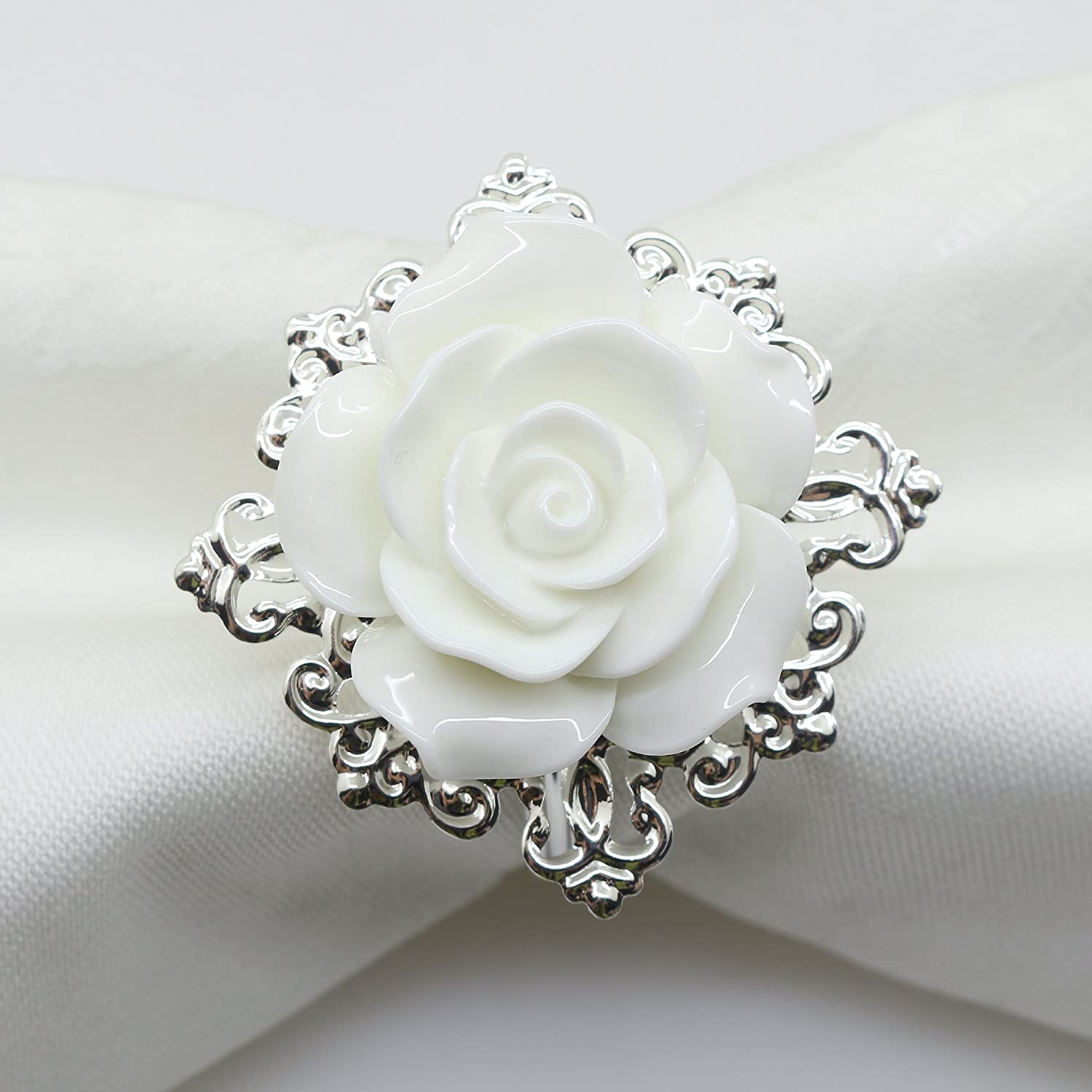 10pcs White Rose Decorative Silver Napkin Ring Serviette Holder for Wedding Party Dinner Table Decor Many Color Available For Christmas Table Yomoo