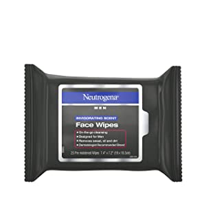 Neutrogena Men Invigorating Scent Face Cleansing Wipes, Pre-Moistened Travel Facial Wipes for On-the-Go Cleansing, Oil-Free & Alcohol-Free, 25 ct