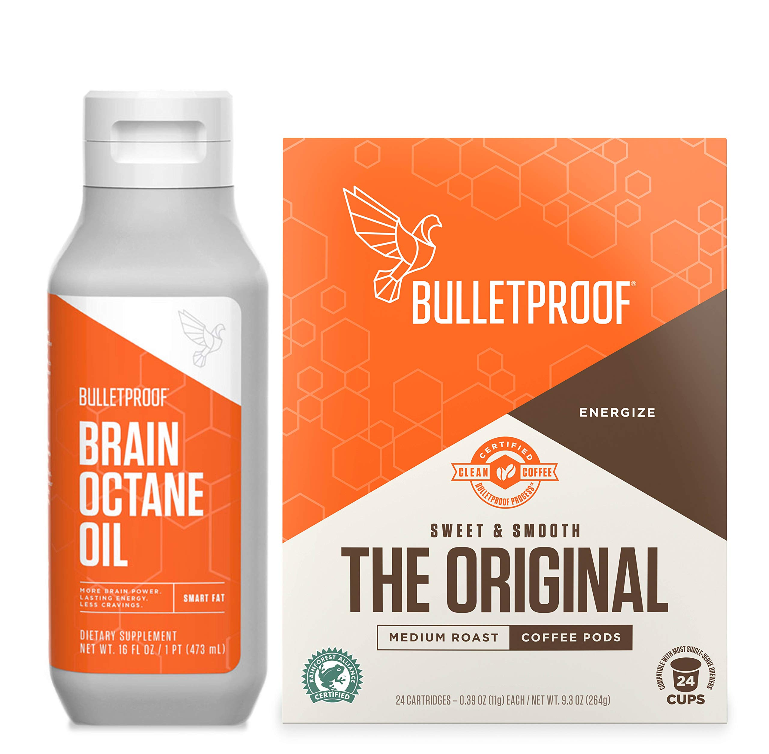 Bulletproof Original Coffee & Brain Octane MCT Oil Bundle - Perfect for Keto and Paleo Diet, 100% Non-GMO Gourmet Organic Beans, Responsibly Sourced Premium C8 Oil (Pods Kit) by Bulletproof