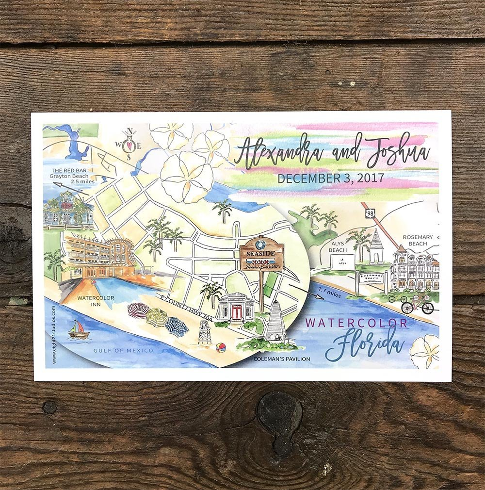 Amazon Com Personalized Wedding Maps Watercolor Wedding Maps