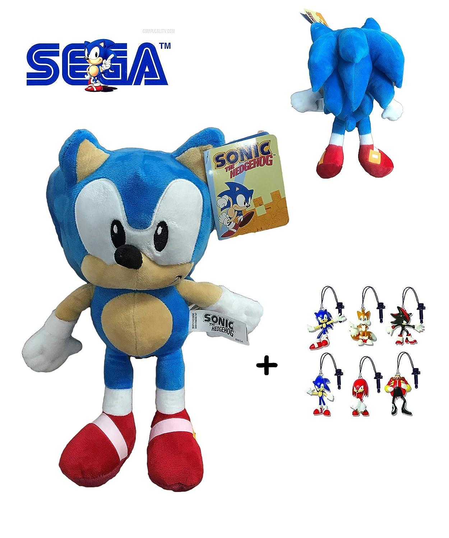 Sonic - Pack Peluche Sonic 30cm Calidad Super Soft + 1 Llavero Aleatorio de Sonic: Amazon.es: Juguetes y juegos