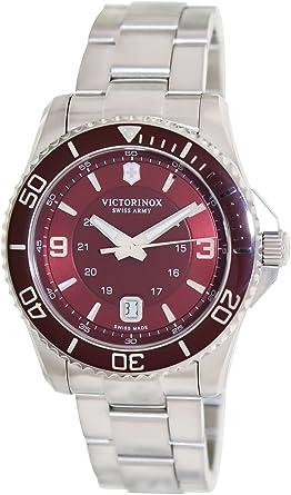 Amazon.com  Victorinox Swiss Army Maverick Red Dial SS Quartz Male ... 7a6a1b5595d3