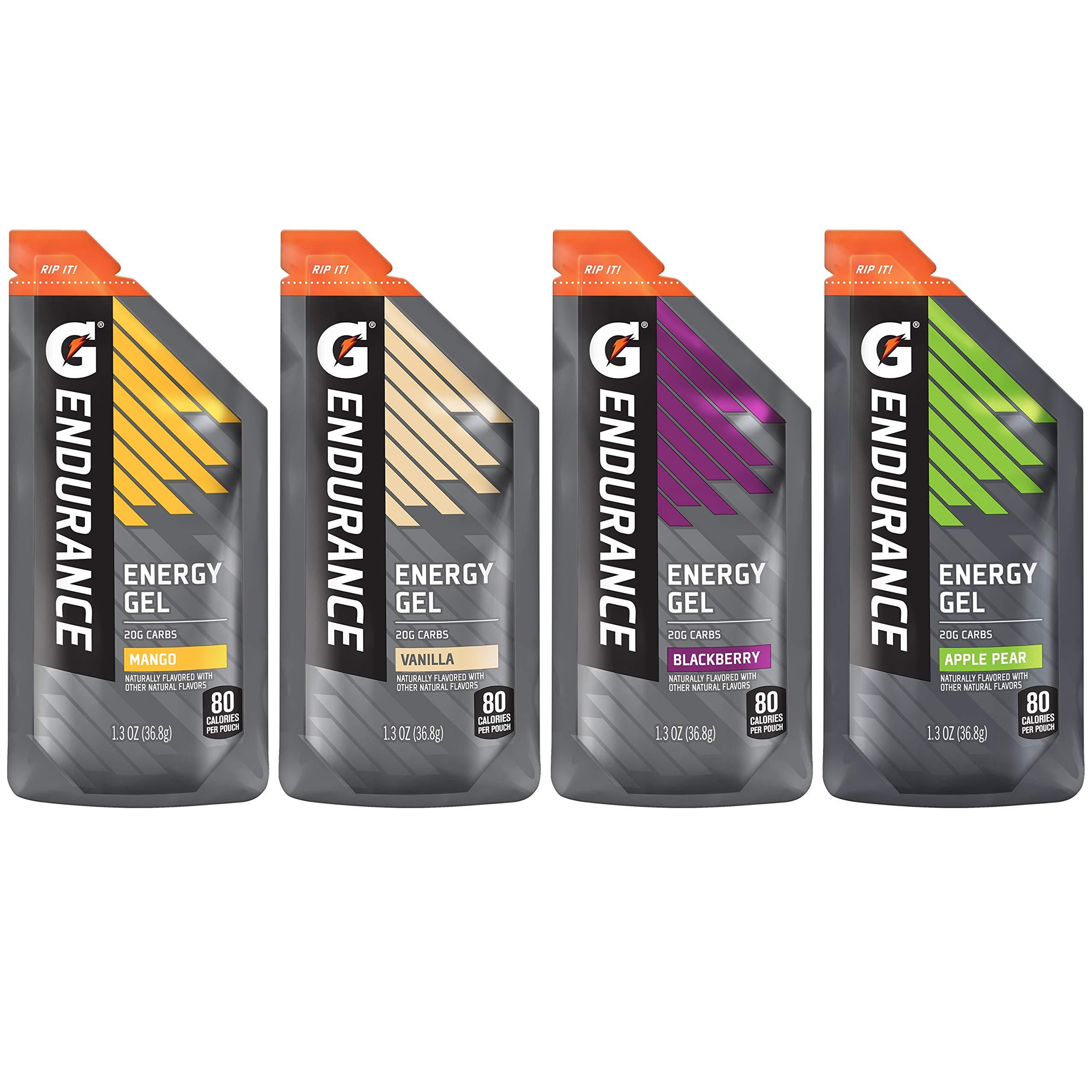Gatorade Endurance Energy Gel, 4 Flavor Variety Pack, 1.3 Ounce, 12 Count
