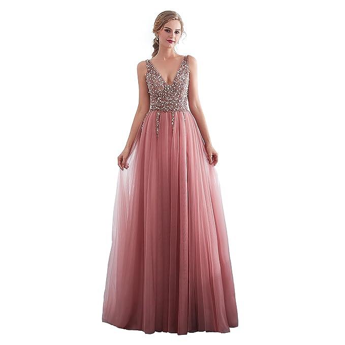 73803424788 Sunvary Charming Deep V-Neck Straps Sequins Backless Slit Prom Evening  Dresses Size 6-