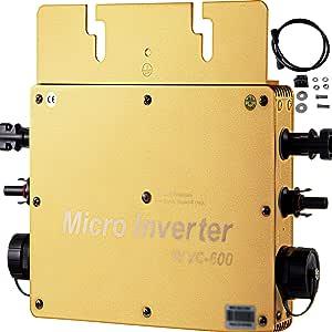 VEVOR Solar Grid Tie Micro Inverter, 600W Solar Micro Inverter, IP65 Solar Inverter, Solar Power Grid Tie Inverter DC22-50V Input to AC180-260V Output Micro Inverter for Solar Panel Systems