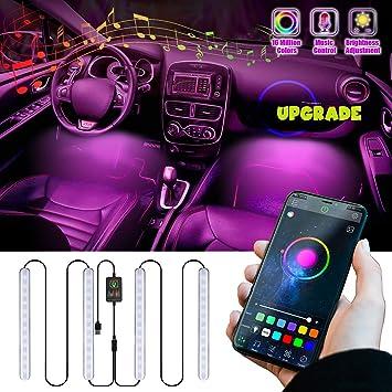 48 LED Car Interior Atmosphere 4 Piece led Light bar Music Control IR Remote