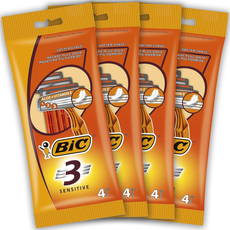BIC 3 Sensitive Maquinillas Desechables para Hombre - Paquete de 4 Packs de 4