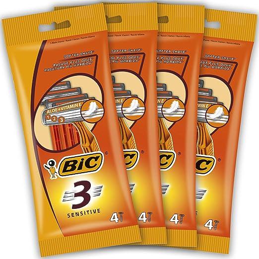 BIC 3 Sensitive Maquinillas Desechables para Hombre - Paquete de 4 ...