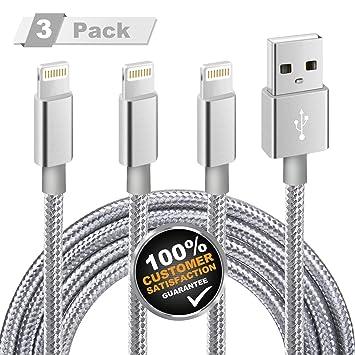 Cable iPhone, Mite 3 Paquetes de 2m Cable del Cargador para iPhone [Nylon Trenzado Duradero] con 12 Meses de Garantía Certificada para iPhone ...