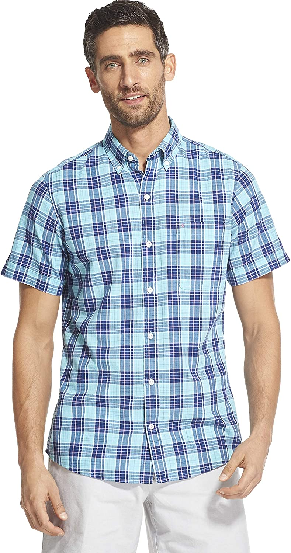 IZOD Men's Slim Fit Saltwater Dockside Chambray Short Sleeve Button Down Plaid Shirt