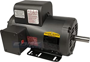 "BALDOR 5HP AIR COMPRESSOR ELECTRIC MOTOR, 56HZ FRAME, 3450RPM, 208/230V, SINGLE-PHASE, 7/8"" SHAFT, 1.15 SERVICE FACTOR MADE IN USA"