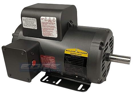 baldor 5hp air compressor electric motor, 56hz frame, 3450rpm, 208 230v, single phase, 7 8\