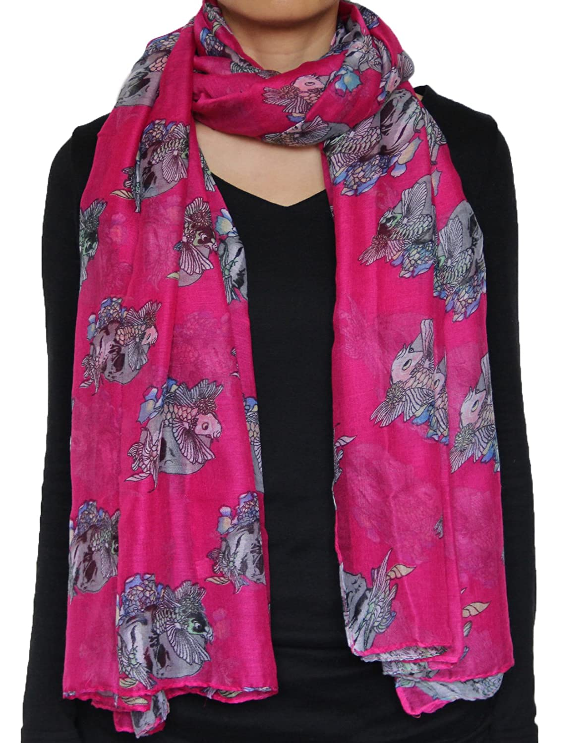 Seamaidmm Fashion Carp Fish In Skull W/ Blue Bellflower Voile Scarf/Shawl Fuschia