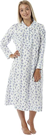 White Background With Pink or Blue Floral Design Ladies Brushed Cotton Winceyette Nightdress Sizes 8-10 12-14 16-18 20-22 24-26
