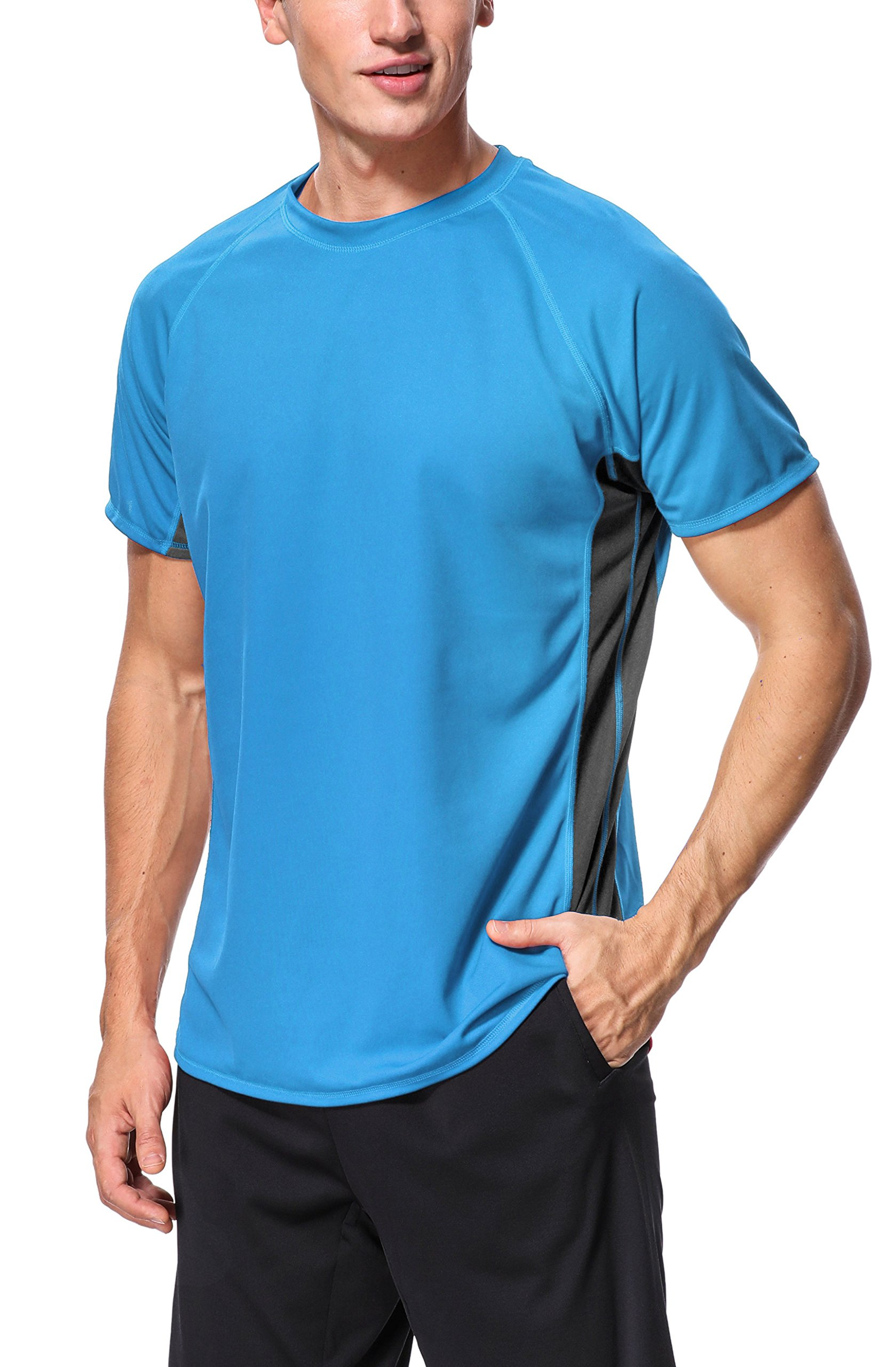 belamo Rashguard Swim tee for Mens Short Sleeve Sun Protection Shirt Sun Shirt