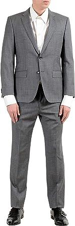 """Hugo Boss /""""Huge6//Genius5/"""" Men/'s Linen Silk Wool Slim Fit Gray Two Button Suit"""
