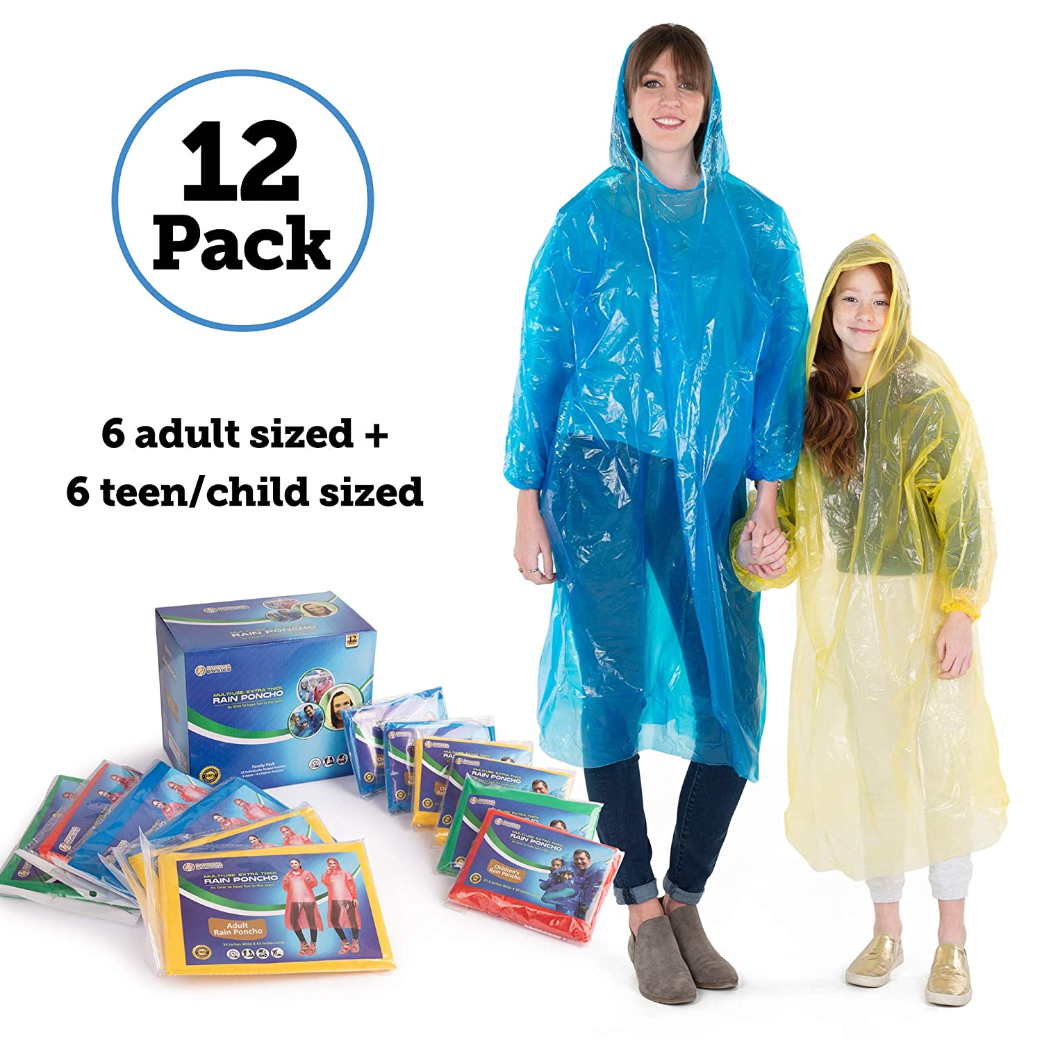 Banana Basics Extra Thick .03 mm Disposable Rain Ponchos (12-Count Family Pack) 6 Adult, 6 Child Sizes | Travel, Sports, Hiking, Outdoor Emergency Use | 100% Waterproof | Compact, Portable | Women Teens & Children (12 Pack) (12)