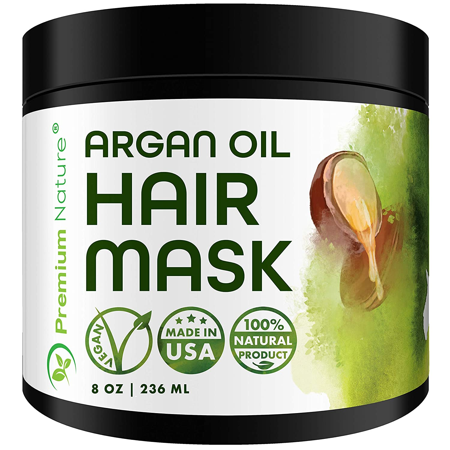 Argan Oil Hair Mask Deep Conditioner - Sulfate Free Conditioning Hair Treatment for Damaged & Dry Hair Repair & Growth All Natural Gentle for Curly & Color Treated Hair Hydrates 1 pack
