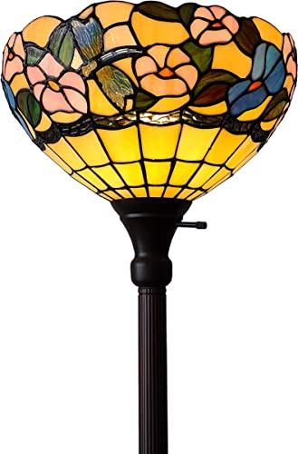 Amora Lighting Tiffany Style Floor Lamp 70 Tall Torchiere Torch Standing Dragonfly Stained Glass White Blue Floral Flower Antique Vintage Light Bedroom Living Room Reading Gift AM023FL14B, Multicolor