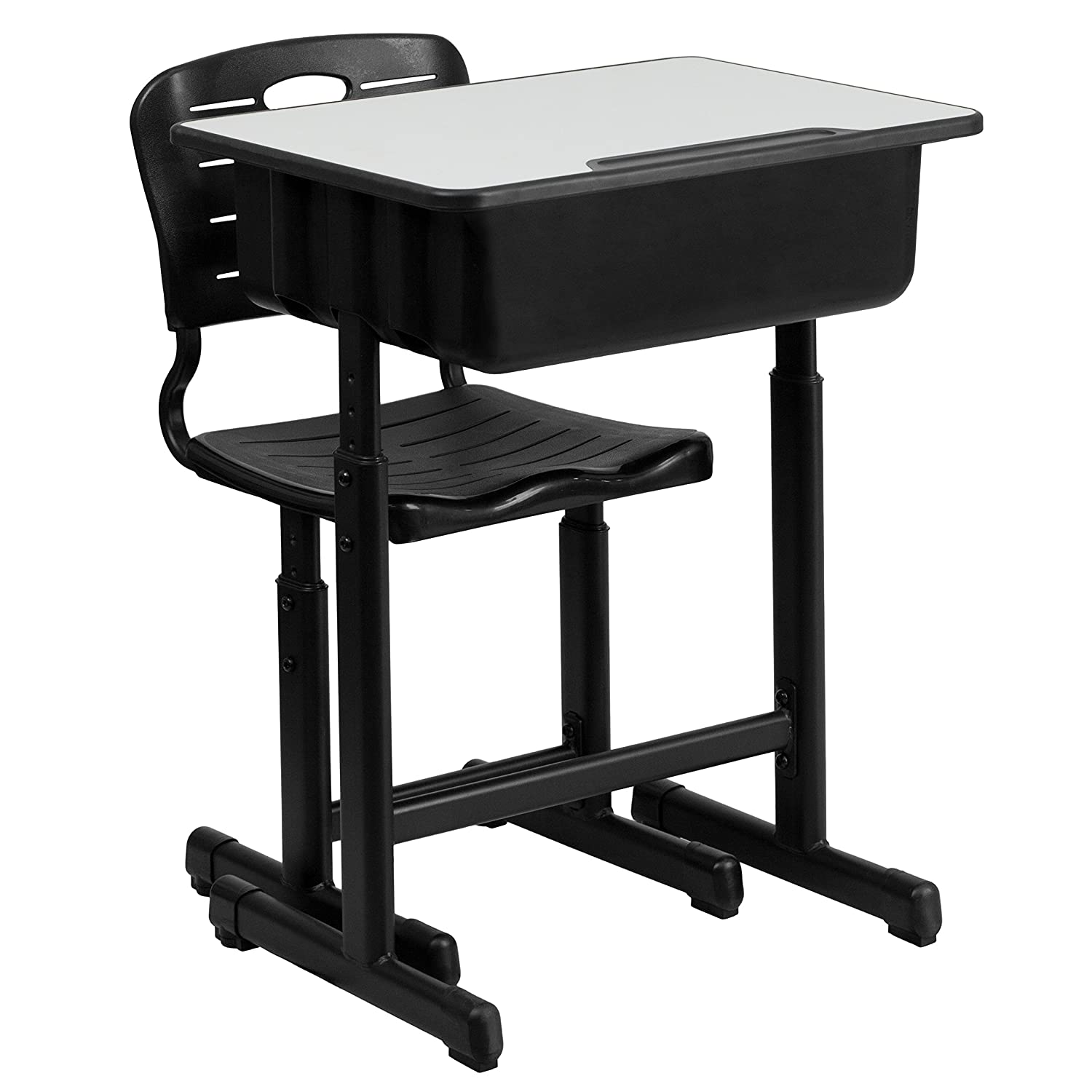 Flash Furniture Adjustable Height Student Desk and Chair with Black Pedestal Frame YU-YCX-046-09010-GG