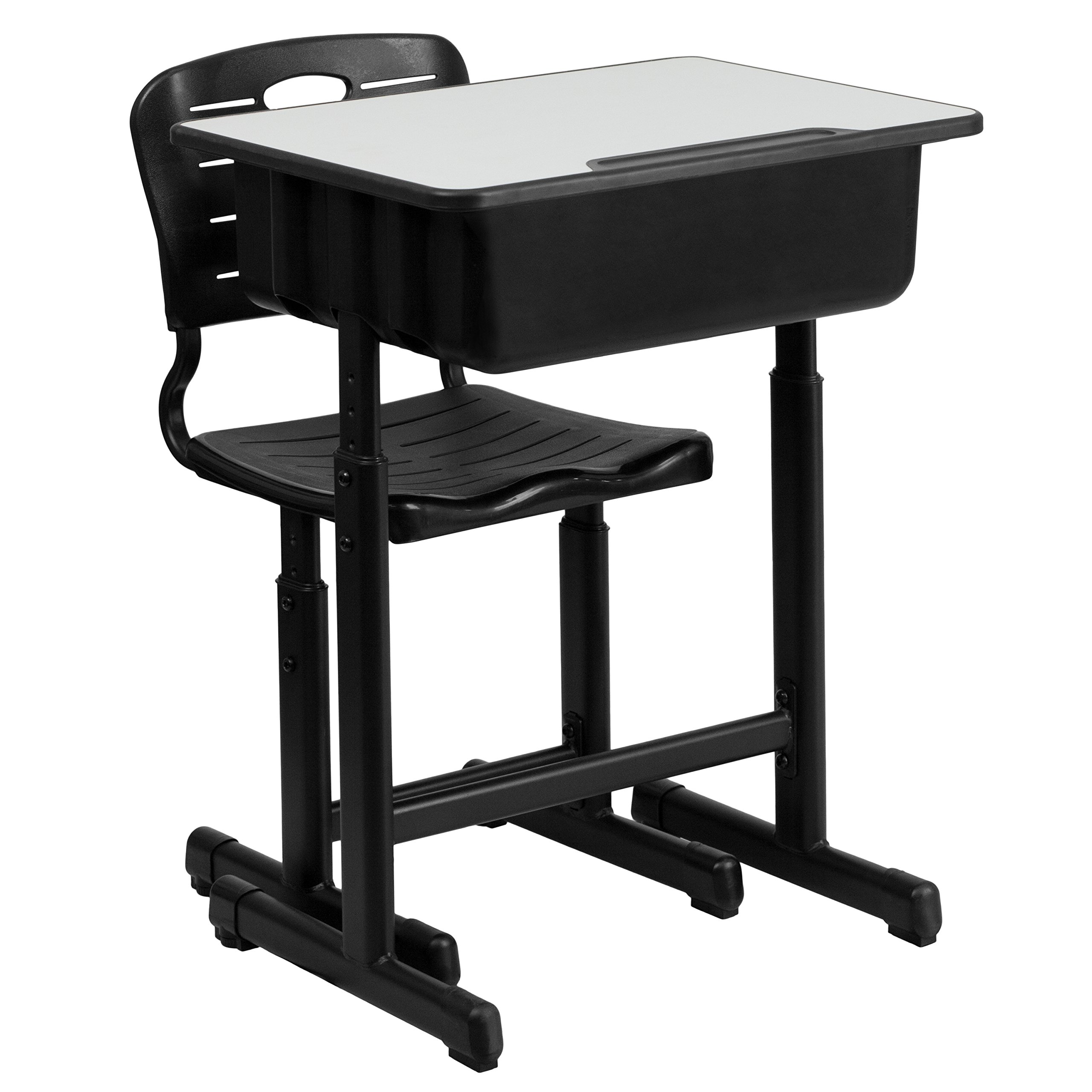 Flash Furniture Adjustable Height Student Desk and Chair with Black Pedestal Frame by
