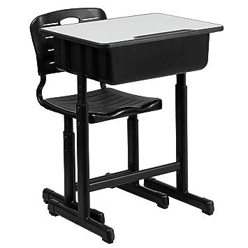 Surprising Flash Furniture Adjustable Height Student Desk And Chair With Black Pedestal Frame Cjindustries Chair Design For Home Cjindustriesco