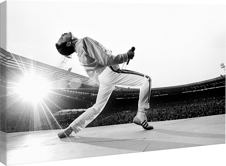 /Fab /70/x 45/cm/ Cadre Freddie Mercury Queen Wembley 1986/ /Pr/êt /à accrocher/ /Blanc et Noir/ /Impression sur Toile Canvas HD/ /Musique/