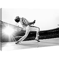 Quadro Freddie Mercury Queen Wembley 1986 - Stampa su Tela Canvas HD - Pronto da Appendere - Bianco e Nero - 70x45 cm - Musica - Made in Italy