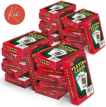 Kicko 24 barajas de cartas – Caja roja impresa, embalaje individual para regalos de fiesta, noche de juego familiar: Amazon.es: Juguetes y juegos