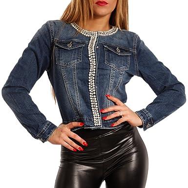 detailed look e5ca1 5cda3 Jeansjacke für Damen mit Strass & Perlen - Leichte Jacke als Übergangsjacke  oder Sommerjacke - Stylischer Blouson ohne Kragen - Sexy Kurzjacke mit ...