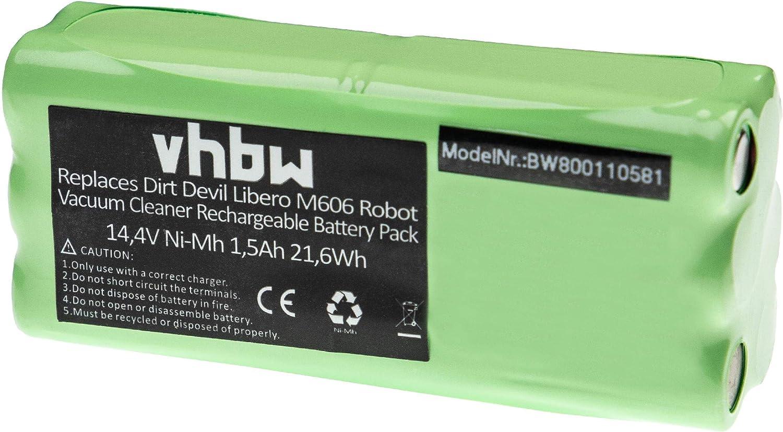 vhbw Batería NiMH 1500mAh (14.4V) para robot limpieza doméstica ...