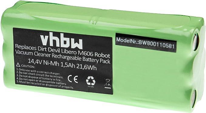 Batteria vhbw NiMH 1500mAh (14.4V) per robot aspirapolvere Dirt Devil Libero M606, M606 1, M606 2 (Lidl), M607 Spider sostituisce 0606004, 0607004.